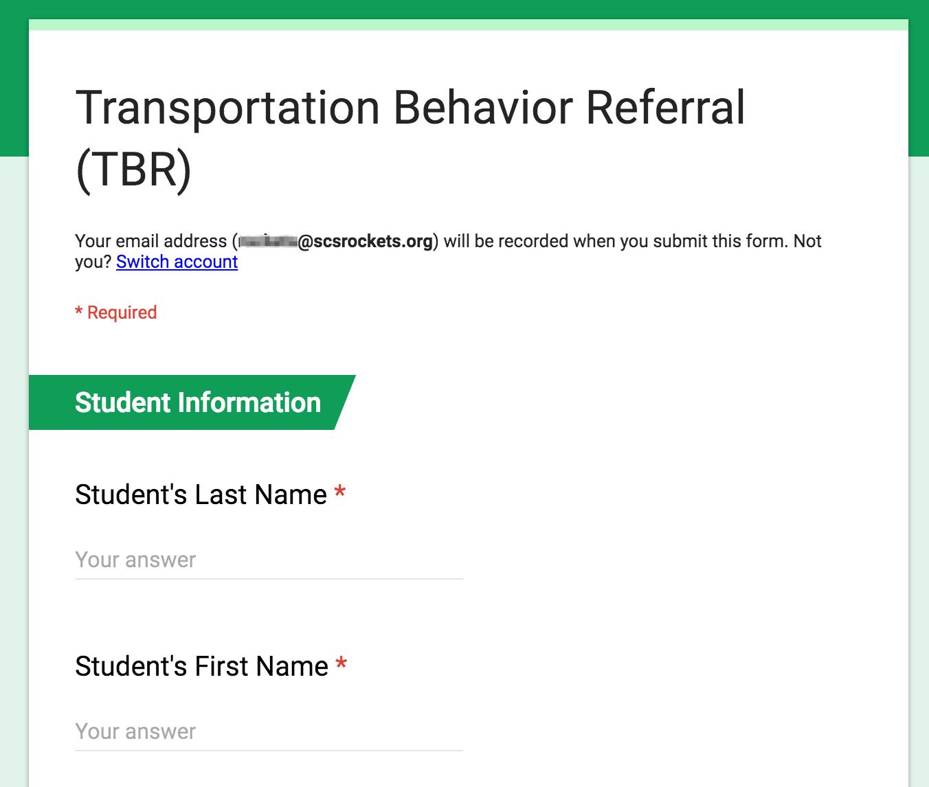 TBR Initial Form