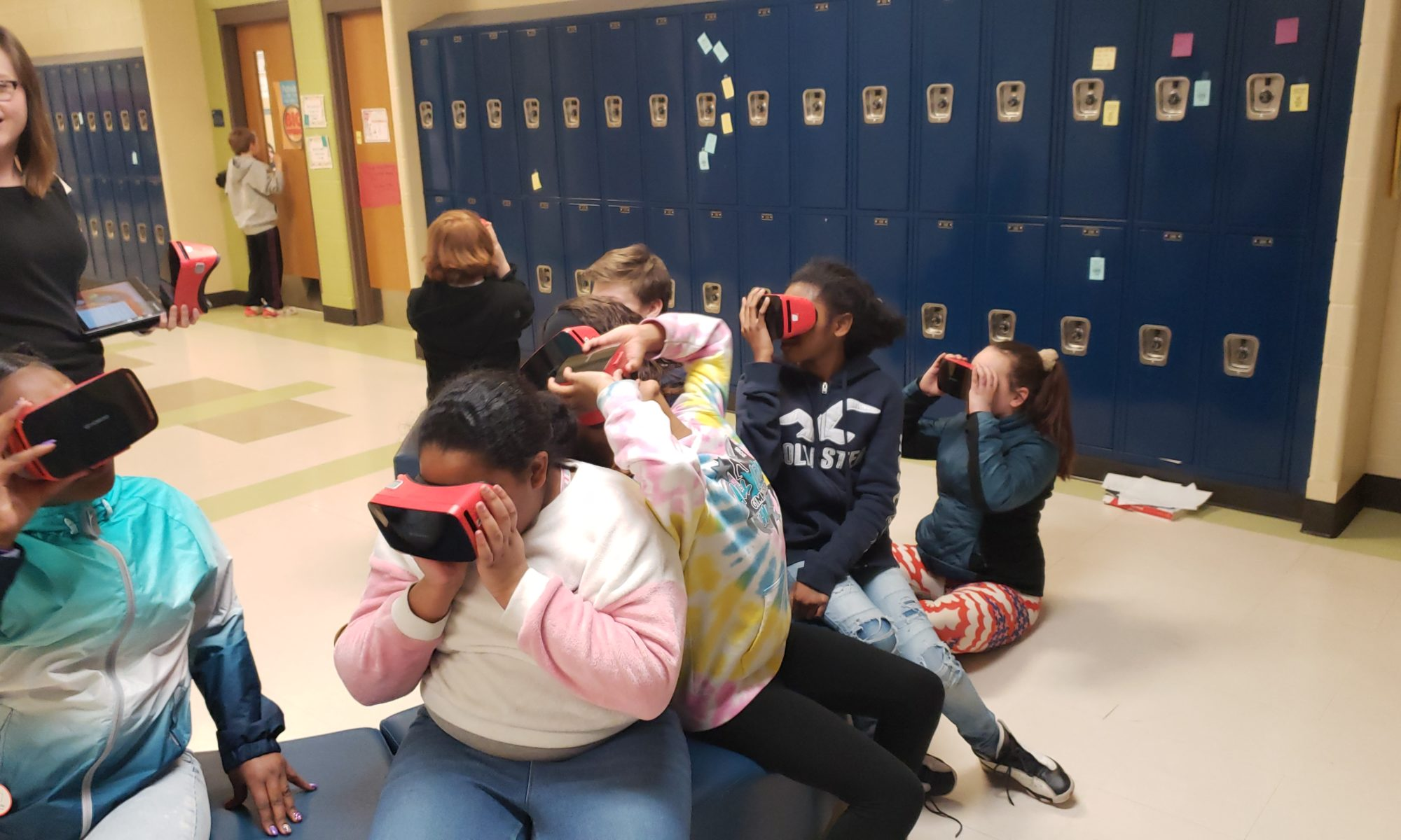 Middle School students using VR